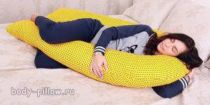 Подушка для беременных U (Body Pillow) Пенополистирол Желтый горох d81a27f1bb8