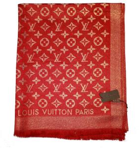 Палантин Louis Vuitton Monogram красный с золотом 1200 фото 2 ... fe2d169acff