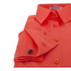 db39a422183 Женская рубашка под запонки красно-кораллового цвета Non-Iron - 7238  DoubleCuff 7238