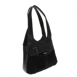0360a2591327 Модная женская сумочка Al_Pari комбинированная натуральной замшей черного  цвета.