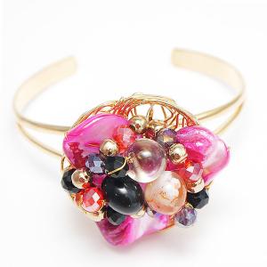 30447935b9e2 Браслет под золото бижутерия с камнями - розовыми вставками для девушек,  регулирующийся
