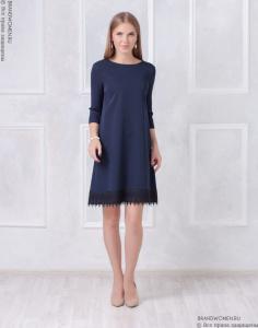 2c4a092eb62 ... Каталог B W Синее платье-трапеция с кружевной отделкой фото ...