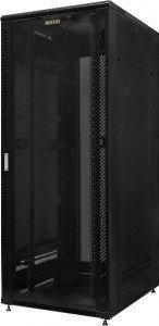 Телекоммуникационный шкаф напольный 19 27U, 600x600x1418 мм, стеклянная дверь, черный GYDERS GDR-276060B