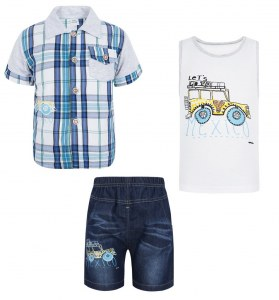 785036803df4ced Акушерство.ру · Комплект рубашка/майка/шорты П3К16 цвет: мультиколор, для  малышей, размер 74