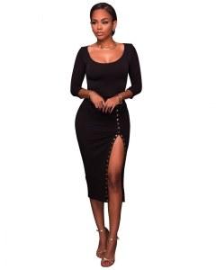 4ee0971c9a4 Черное вечернее платье с вырезом (42)