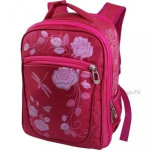 b0b87b9c98cf Рюкзак с эргономичной спинкой (красный с розовым, розы, для девочки,  подростка,