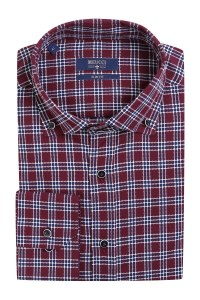6b923ebff2057e9 Бордовая рубашка casual в клетку Meucci SL 93402 R 25171/141593