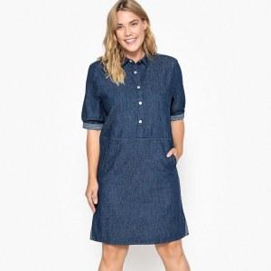 8c28edc593c0e47 Платье La Redoute Джинсовое прямое средней длины с короткими рукавами