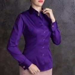 4e943c87511 Рубашка женская фиолетовая под запонки с красивым восточным узором - 7159  DoubleCuff 7159