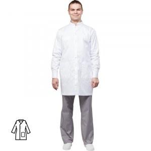 ef5e355779795 Халат медицинский мужской м10-ХЛ длинный рукав белый (размер 52-54, рост