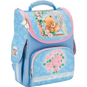 49b1c358abfe Kite Ранец школьный каркасный Popcorn Bear (голубой)