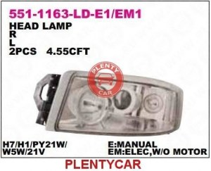 Фара левая h1/h3/h7 с корректором Depo 551-1163L-LDEM1 Renault: 5010578442 5010578448 5010578452 7421636293 5010578454