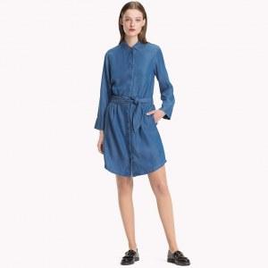 72584d74a597384 Джинсовое платье с поясом - Деним - Tommy Hilfiger - EU32 - Women