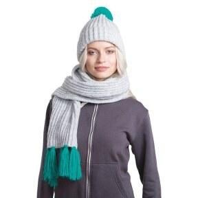 20462ee80b186 Oasis GoSnow, вязаный комплект шарф и шапка, меланж c фурнитурой бирюзовый