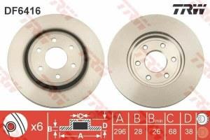 Диск тормозной nissan pathfinder (r51) 05/navara 05 (r16) передний TRW/Lucas арт. DF6416