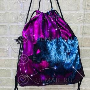 4ea1264bc4d9 Мешок-рюкзак для сменной обуви с матовыми пайетками меняющий цвет  Фиолетовый-Морская волна (