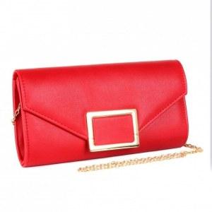 adee0e9fee9a Сумка женская текстиль каркасная yx-215, одно отделение, ремень-цепочка,  красный