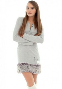 43479ca071f Diliar s.r.l. Теплое домашнее платье с отделкой искусственным мехом R B 3022