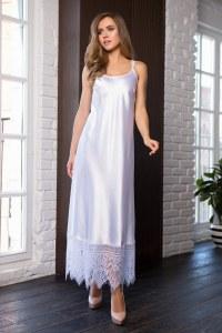 f64390662ae Mia-Mia Длинное шелковистое платье домашнее женское белого цвета (белый    XXL(52
