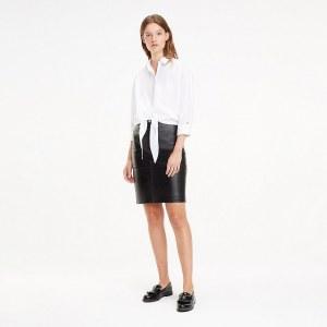 65411844243 Кожаная юбка-карандаш со шлицей - Черный - Tommy Hilfiger - EU36 - Women