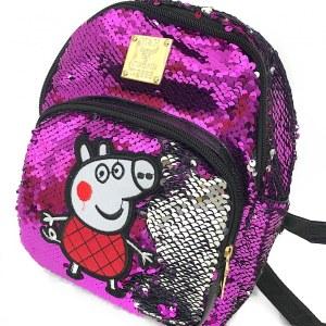 a4e966011189 Маленький Рюкзак с меняющимися пайетками детский для девочки «Свинка Пеппа»  R90, Цвет Фиолетовый