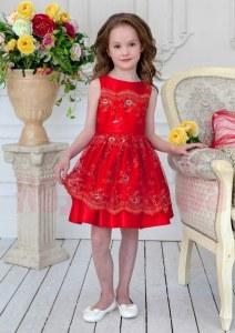 2b976d70678702c ALOLIKA Нарядное платье для девочки Саманта красный (ПЛ-1811-6 122 см (