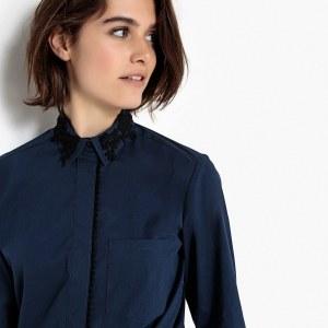 3ddb1e78746 Блузка La Redoute С длинными рукавами и вышивкой на вырезе и планке  застежки на пуговицы