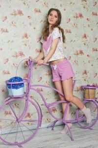 54974278e3a1a Evelena Милая пижама Caramel с сердечком на футболке