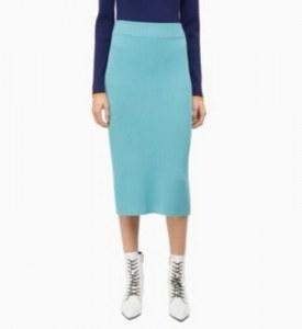332a59c165d CALVIN KLEIN - Вязаная в рубчик юбка-карандаш - Синий - S - Женщины