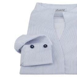 d2bc15ba21c Женская рубашка под пуговицы в полоску воротник стойка - 7310 DoubleCuff  7310