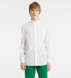 2e3fd95c99d CALVIN KLEIN - Приталенная рубашка из льна и хлопка - Белый - XL - Мужчины