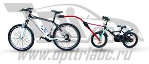 Прицепное устройство детского велосипеда к взрослому красное pz 300-r