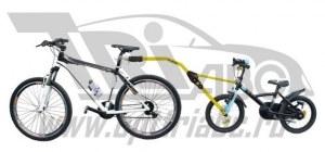 Прицепное устройство детского велосипеда к взрослому желтое pz 300-g