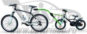 Прицепное устройство детского велосипеда к взрослому зеленое pz 300-v