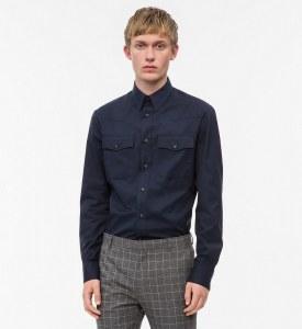 6ab03bc75406da0 CALVIN KLEIN - Ковбойская рубашка из хлопкового твила - Синий - M - Мужчины