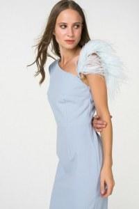 9c25c4ed4cb T-Skirt Коктейльное платье на одно плечо с перьями